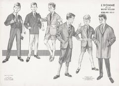 French Mid-Century 1960s Schoolboys Fashion Design Vintage Suit Lithograph Print