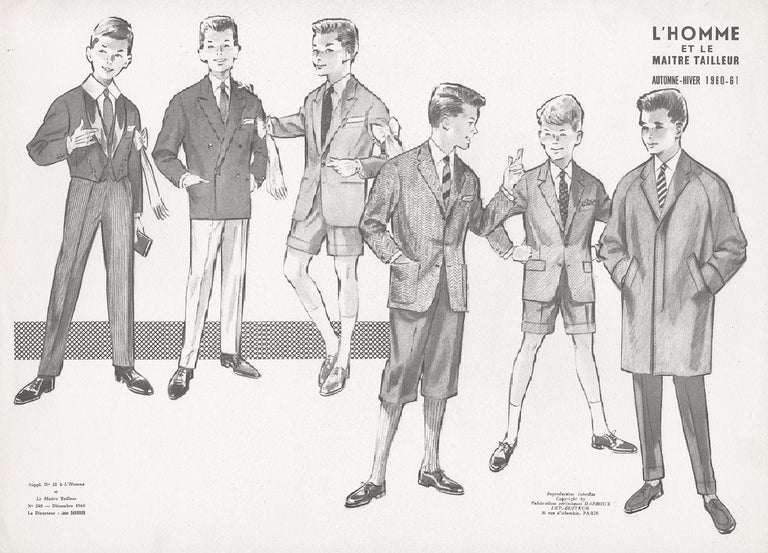 Jean Darroux  Figurative Print - French Mid-Century 1960s Schoolboys Fashion Design Vintage Suit Lithograph Print