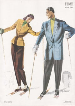 French Mid-Century Winter 1949 Fashion Design Skiing Skiers Lithograph Print