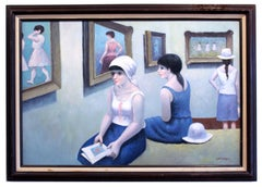 Daumier French Impressionist Museum Interior Women Framed Cool Colors Blue Pink