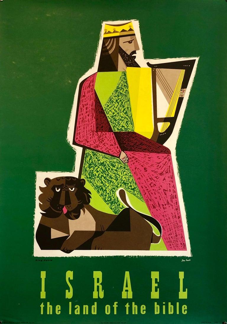 1950s Vintage Travel Poster Israeli Tourist Center Modernist KIng David and Lion For Sale 7