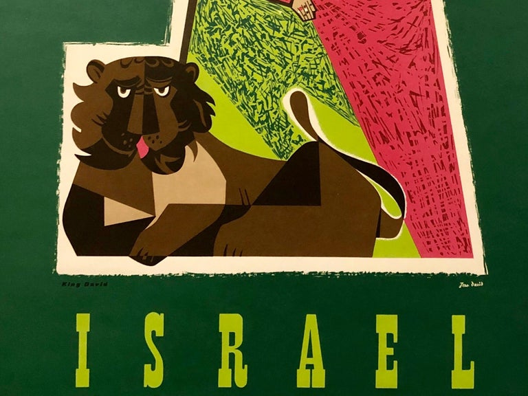 1950s Vintage Travel Poster Israeli Tourist Center Modernist KIng David and Lion - Painting by Jean David
