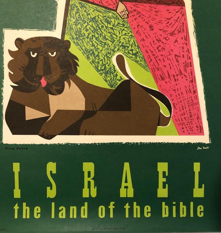 1950s Vintage Travel Poster Israeli Tourist Center Modernist KIng David and Lion For Sale 1