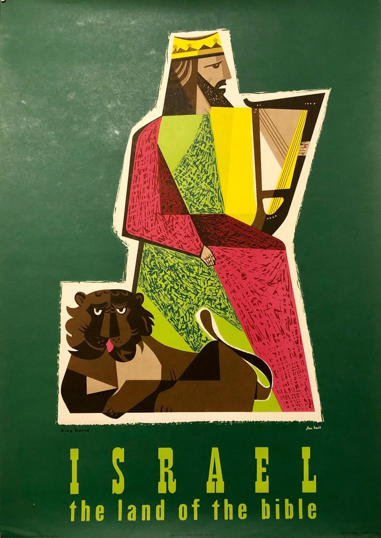 Jean David Abstract Painting - 1950s Vintage Travel Poster Israeli Tourist Center Modernist KIng David and Lion