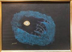 Israeli Modernist Gouache Painting Dada Surrealist Hand and Eye Charms
