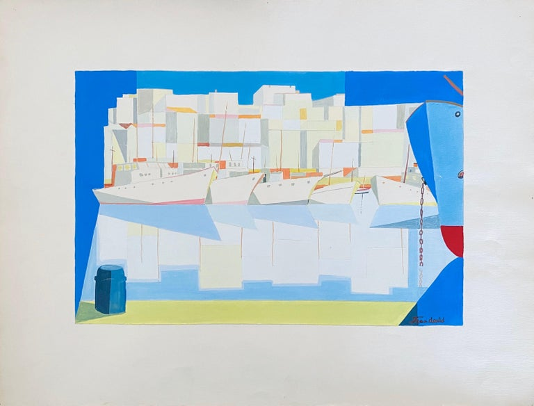 Romanian Modernist Gouache Painting Of Buildings And Boats - Jean David  For Sale 1
