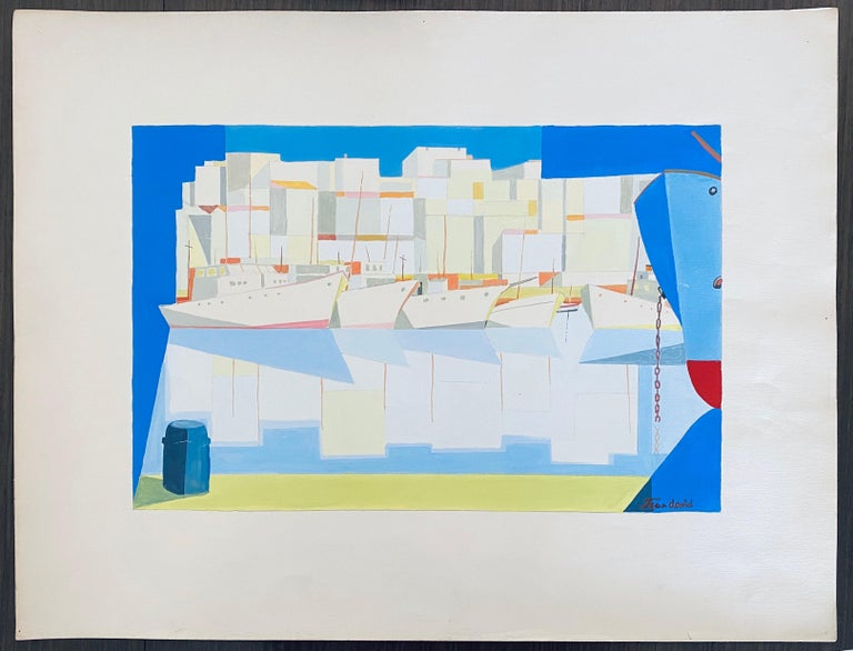 Romanian Modernist Gouache Painting Of Buildings And Boats - Jean David  For Sale 6