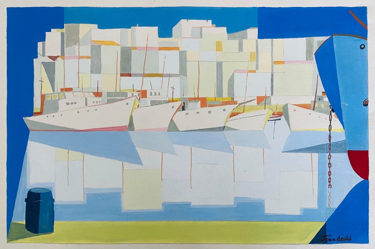 Romanian Modernist Gouache Painting Of Buildings And Boats - Jean David  - Gray Figurative Painting by Jean David