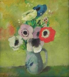 """Fleurs"", Jean de Botton, Impressionism, Flower Still life, 18x15, Original Oil"