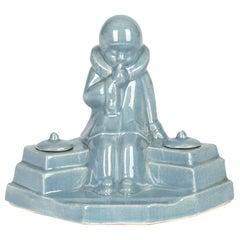 Jean de la Fontinelle French Art Deco Pottery Figural Ink Stand