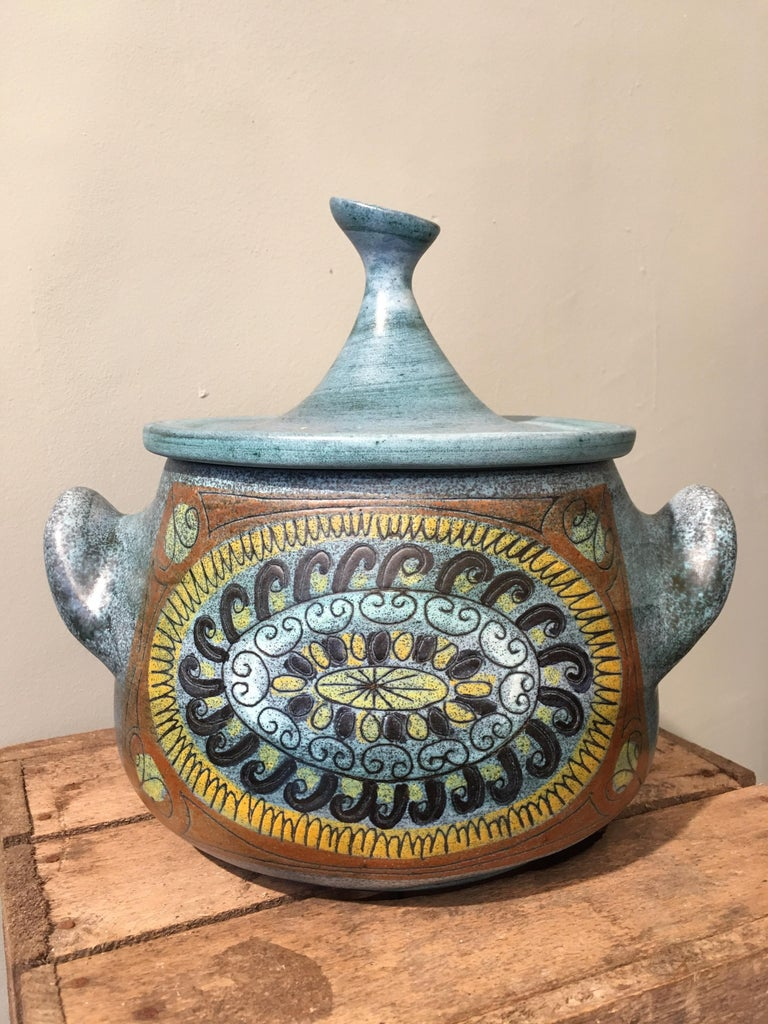 French Jean de Lespinasse Blue Glazed Ceramic Tureen Vallauris JdL n°1, circa 1950-1960 For Sale
