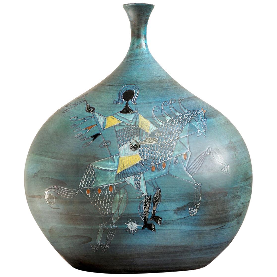 Jean de Lespinasse, Large Vase with Rider Decoration, France, 1960