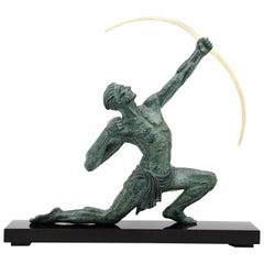 Jean de Roncourt French Art Deco Archer Man Sculpture, 1930s