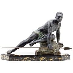 Jean de Roncourt French Art Deco Hunter Sculpture, circa 1925