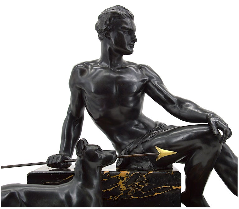 Large and heavy French Art Deco sculpture by Jean de Roncourt, France, circa 1925.