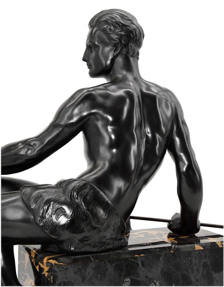 Jean de Roncourt French Art Deco Sculpture Hunter with his German Mastiff, 1925 2