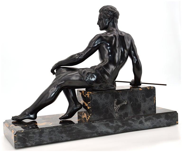 Jean de Roncourt French Art Deco Sculpture Hunter with his German Mastiff, 1925 3