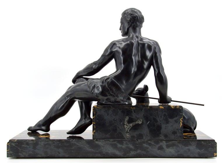 Jean de Roncourt French Art Deco Sculpture Hunter with his German Mastiff, 1925 4