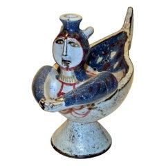 """Jean Derval French Artist, Ceramic """"Sirene"""" Vase, circa 1960s"""