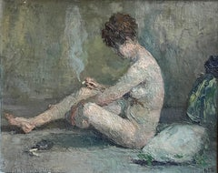 Early 1900's French Oil Oil Portrait of Nude Lady Smoking Cigarette in Interior