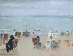 Plage Alger - Soir - Mid 20th Century Oil, Figures on Beach by Jean Bascoulles