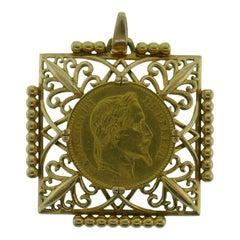 Jean Despres 18k Yellow Gold Napoleon III Emperor Coin 1865 Pendant French Rare