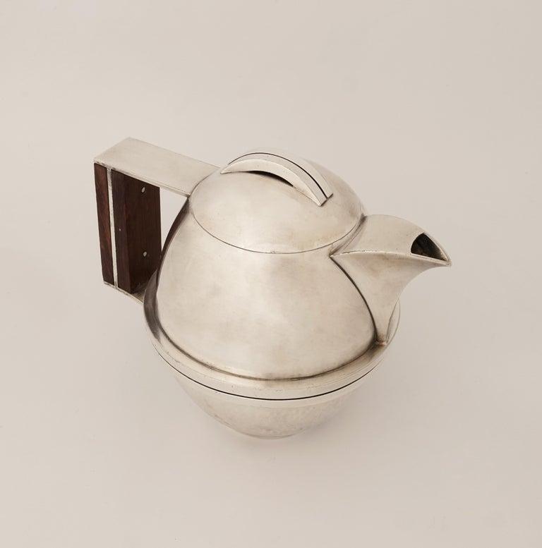 French Jean Després, a Rare Tin and Madagascar Ebony Wood Tea-Pot, circa 1930 For Sale