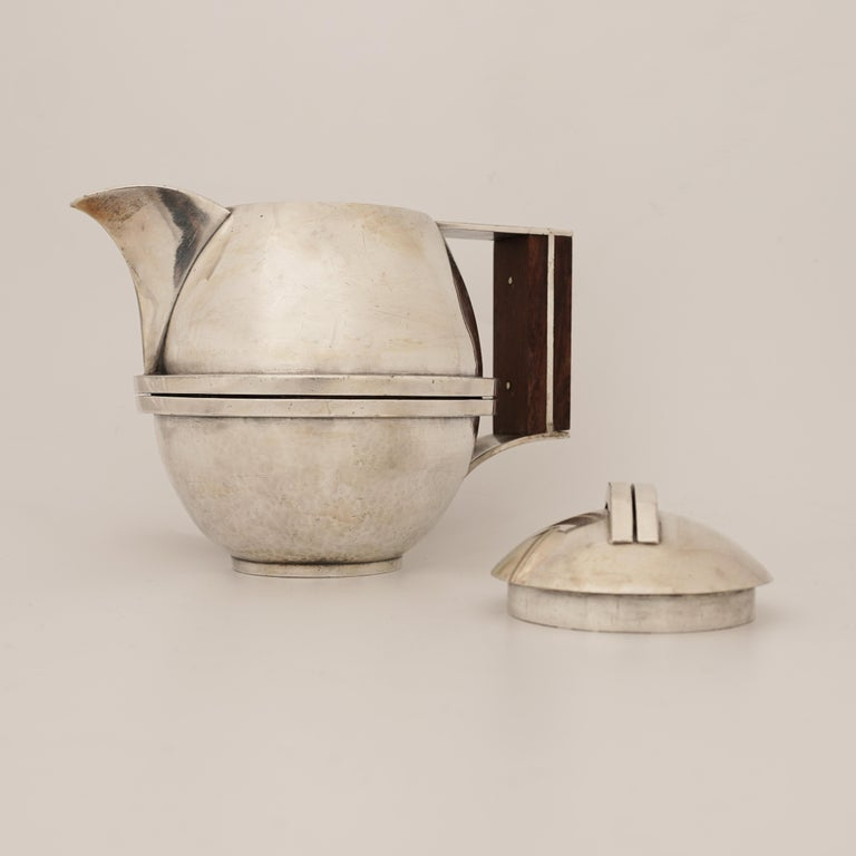 Hammered Jean Després, a Rare Tin and Madagascar Ebony Wood Tea-Pot, circa 1930 For Sale