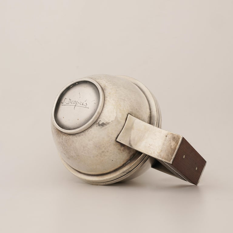 Jean Després, a Rare Tin and Madagascar Ebony Wood Tea-Pot, circa 1930 For Sale 1