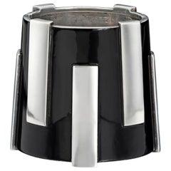 Jean Després Art Deco Silver and Black Lacquer Gear Bangle Cuff Bracelet