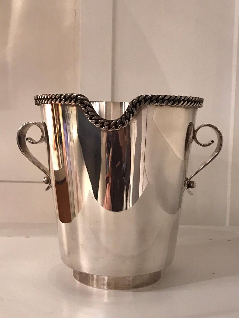 Jean Depres silver plated champagne bucket, circa 1960