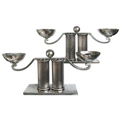 Jean Despres Pair of Silver Plated Candleholders, Mid-Century Modern, France