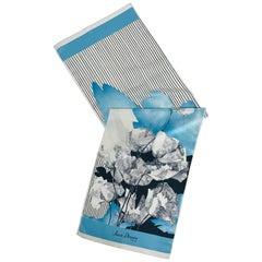 Jean Desses Long Silk Scarf Floral & Stripe
