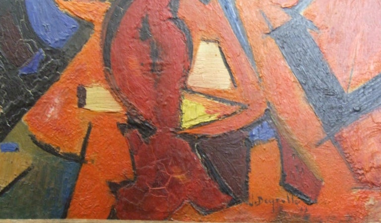 Red Abstract - Painting by Jean Deyrolle