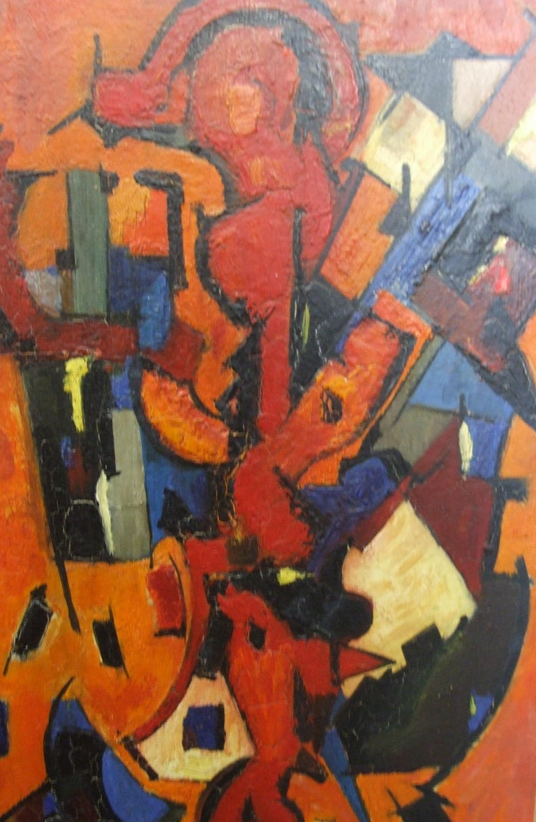 Red Abstract - Brown Abstract Painting by Jean Deyrolle