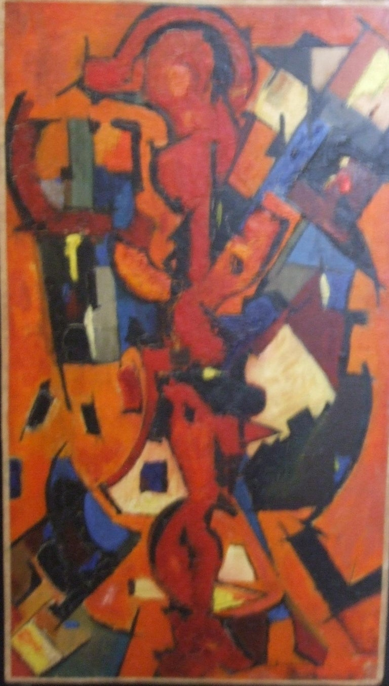 Jean Deyrolle Abstract Painting - Red Abstract