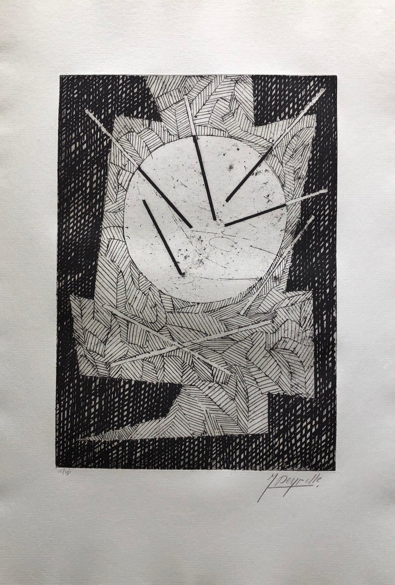 French Avant Garde Bold Abstract Geometric Aquatint Etching Op Art Kinetic - Print by Jean Deyrolle