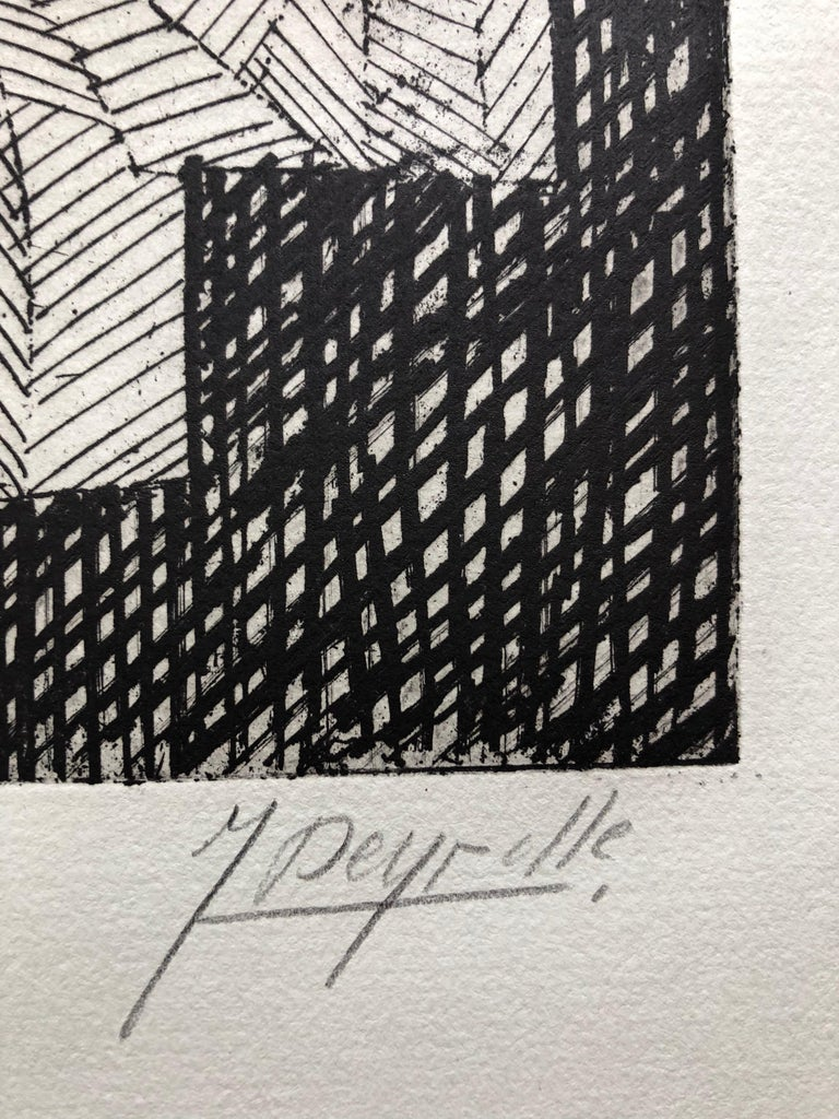 French Avant Garde Bold Abstract Geometric Aquatint Etching Op Art Kinetic - Gray Abstract Print by Jean Deyrolle