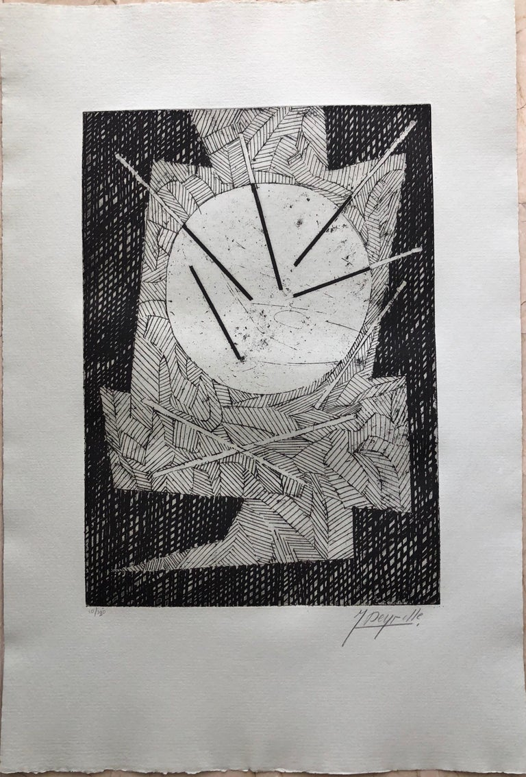 French Avant Garde Bold Abstract Geometric Aquatint Etching Op Art Kinetic For Sale 1