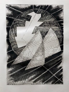 French Avant Garde Bold Abstract Geometric Aquatint Etching Op Art Kinetic