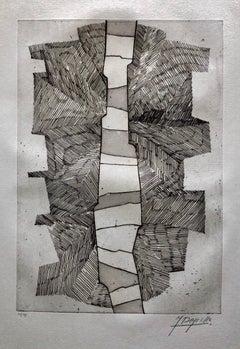 French Avant Garde Bold Abstract Geometric Aquatint Etching Op Art Kinetic