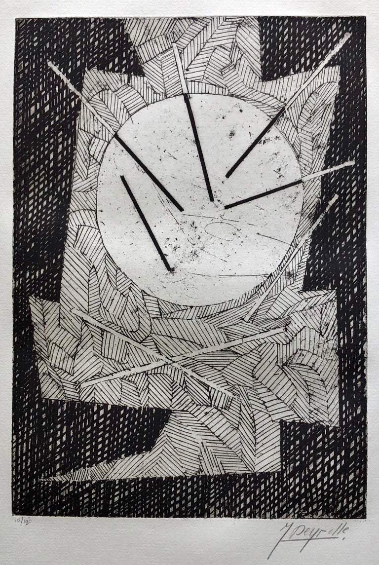 Jean Deyrolle Abstract Print - French Avant Garde Bold Abstract Geometric Aquatint Etching Op Art Kinetic