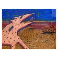 "Jean Dibble ""Burden of Shame"", Large Postmodern Pastel, 1981"
