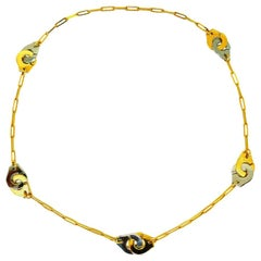 """Jean Dinh Van Menottes """"Handcuff"""" Yellow Gold and Steel Necklace"""