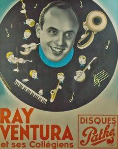 """Ray Ventura,"" Original Lithograph Poster by Jean Dominique Van Caulaert"