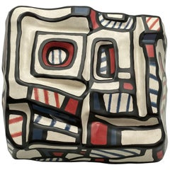 "Jean Dubuffet,"" Encrier"" ceramic sculpture "" by Rosenthal Germany.signed.10/25"