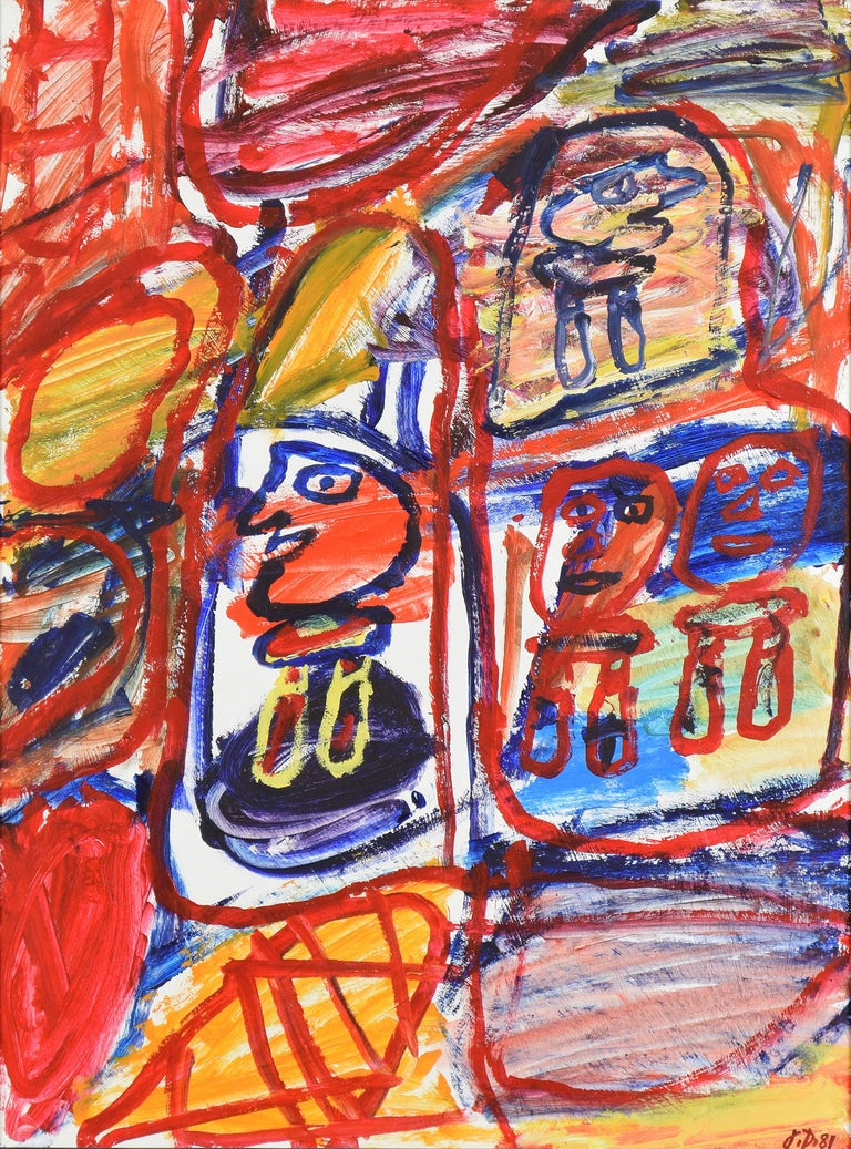 Site Avec 4 Personnages by JEAN  DUBUFFET - Modern art, acrylic on paper, colour - Painting by Jean Dubuffet