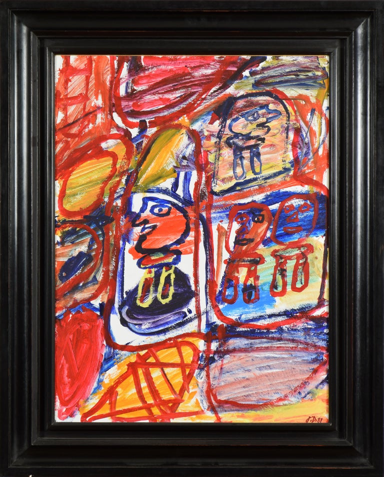 Jean Dubuffet Abstract Painting - Site Avec 4 Personnages by JEAN  DUBUFFET - Modern art, acrylic on paper, colour