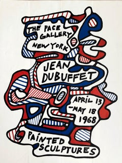 Jean Dubuffet 1968 Pace Gallery exhibition poster (Dubuffet painted sculptures)