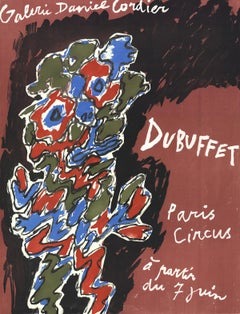 "Jean Dubuffet-Paris Circus-24.5"" x 18.75""-Lithograph-Surrealism-Multicolor"